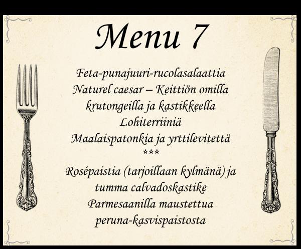 Buffet menu 7 häihin, pikkujouluihin ja muihin juhliin